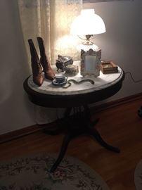 Mahogany Harp Table with marble top