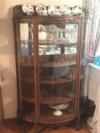 Curved front Oak Cabinet with glass door