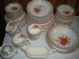 Camwood Ivory (8) piece serving china set trimmed in 22 carat gold.  Made in the USA. Great condition.  $225.00