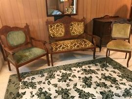 Late 19c Eastlake Style Settee and Chairs