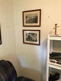 N & W framed prints