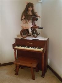 Antique Doll on 3 wheel horse / lace doilie / Antique doll piano / Antique foot stool.  Super cute display!!!!