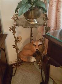 Brass plant stand - brass pot - ceramic fox figurine.