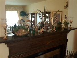 Mantle items - brass swan, brass candlestick holders, more figurines.  Set of fireplace tools.  Stack of real wood in garage for sale.