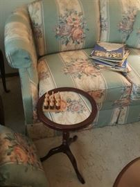 Sofa, loveseat and accent table set.  Sheet music. Parlour games.