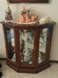 Side curio cabinet with amazing Tea Set. Cat figurine.  Décor.
