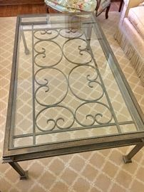 Metal and glass ornate coffee table