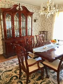 Dining Room Set with China Closet, Table with leaf, 8 Chippendale Chairs, and Sideboard (All sold separately)
