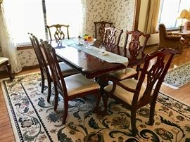 Dining Room Table with Leaf and 8 Chippendale Chairs