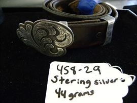 Sterling Silver Belt Buckle w/Leather Belt