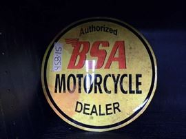BSA Motorcycle Metal Dealer Sign