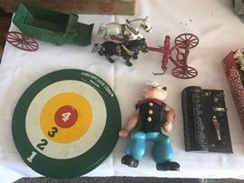 Vintage Toys - Popeye, Cast Iron Horses and Wagon, Whirly Bird Game, Telegraph Morse Code piece