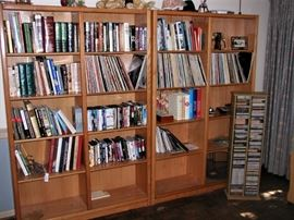 Books, records, CD's, DVD's  and shelving units.