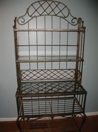 Wrought iron baker's rack, with glass shelving
