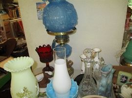 Tons of fenton lamps and vases.