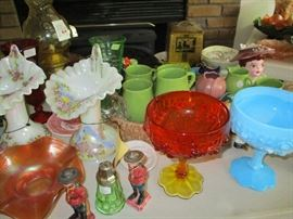 Mostly fenton, some figures and a head vase