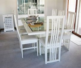 white lacquer and mirror dining room table, leaf and 8 chair   BUY IT NOW  $ 265.00