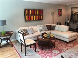 White Leather Sectional, Henredon Coffee Table, Contemporary Art & Oriental Rugs