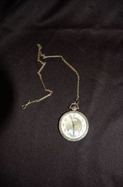 14K Elgin Man's White Gold Pocket Watch & Chain