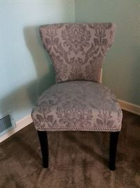 Pair of Contemporary large tufted chairs-grey on grey raised velvet.