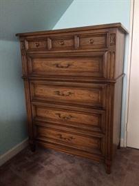 White Fine Furniture Co.  North Carolina, Mid Century modern high boy dresser.