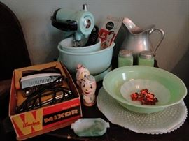 So many vintage items, including 1930's Jadeite and a Waring Mixer still in the box.  The Humpty Dumpty Salt and Pepper Shakers are adorable!