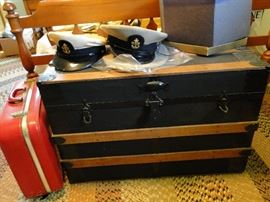 Steamer Trunk, Vintage Suitcase, and Military Hats