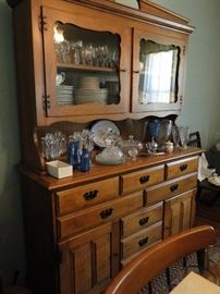 This China Cabinet is filled with beautiful Johann Haviland China, Iris and Herringbone Vase, Pitcher and Glasses