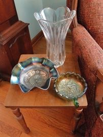 Carnival Glass and several side tables available