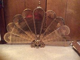 Brass peacock fireplace screen