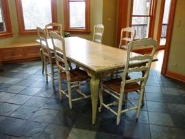 French Country/Cottage DR/Kitchen Table and 6 Chairs