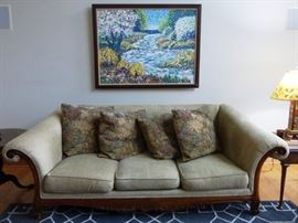 Sofa with Wood Trim. Oil