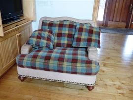 Plaid and Leather oversize chair