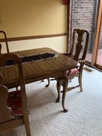 Queen Anne Oak Table 4 Chairs  $600.00