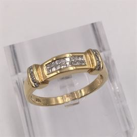 14K and diamond ring - large