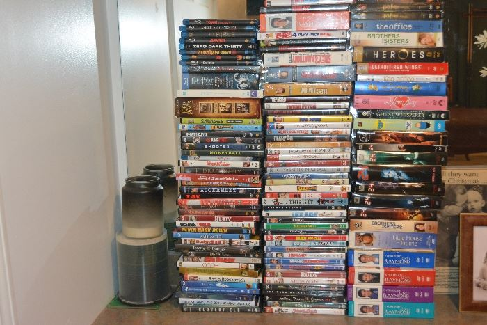 Numerous DVD's, including multiple sets and Blue Rays.  Also numerous video games available.