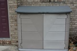 One of 2 storage sheds available. Quality locking garbage bins will also be for sale.