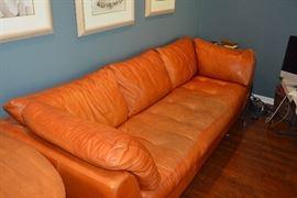 Beautiful tan leather sofa. 8 feet long!