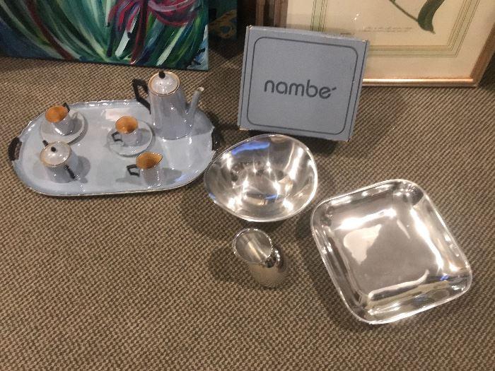 Nambe' silver serving set. Beautiful Victoria China tea set from Czechoslovakia.