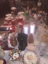 Christmas dishes, serving dishes, candles