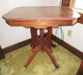 Antique parlor table w/ attached marble top