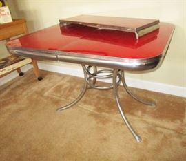 Mid-century chrome w/ cherry red top w/ one leaf