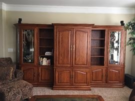 Beautifully Made wood book shelves and entertainment unit. Made in USA. Can be sold individually