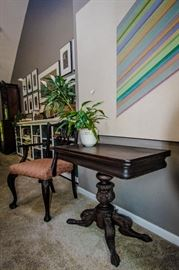 card table, modern art and Chippendale arm chair