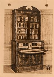 This sepia picture was found in the drawer of this desk along with paperwork of shipping from Europe. circa 1795