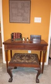 card table , tea caddy and needle point bench