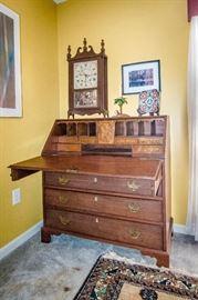slant top desk  and Eli Terry clock