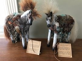 Artist designed horses by Misha Malpica. Her realistic clay sculptures displays the dignity and tribal traditions of tribal people. Her work has been on display at various museums.