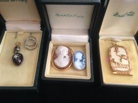 Platinum and diamond rings , 18 K cameos, 14 K and bone funky pendant