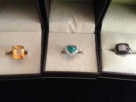 14K white gold with black and white diamond ring, 18K gold with diamonds and large emerald ring, Large citrine and 14K ring